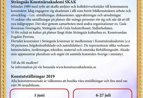 SKAK 30-årsjubiléum infoblad
